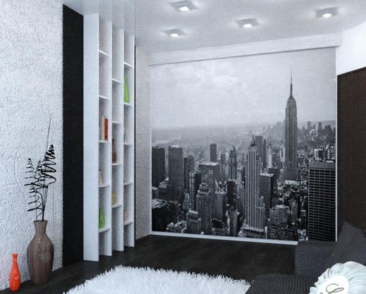 фото мегаполиса в интерьере гостиной