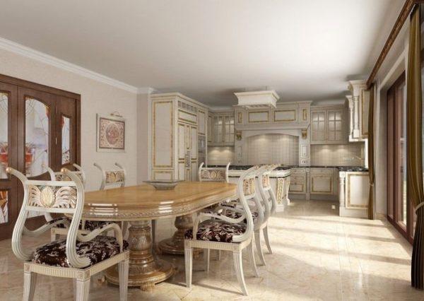белёный потолок в интерьере кухни-гостиной