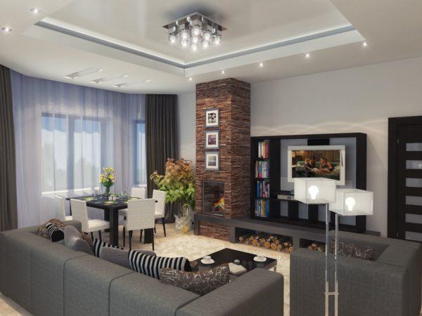 оформление гостиной комнаты камином и телевизором