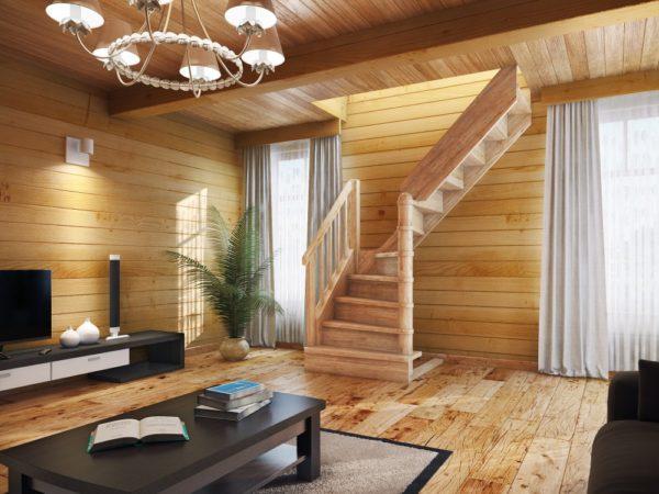 оформление деревом гостиной комнаты