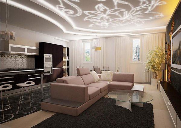 декоративный потолок из гипсокартона в интерьере кухни совмещенной с гостиной