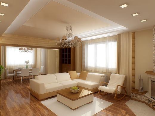 песочный цвет в декоре гостиной комнаты