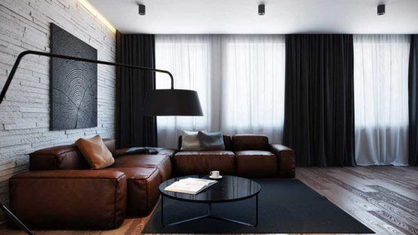 темные шторы в дизайне гостиной
