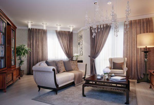 классические шторы в интерьере современной гостиной