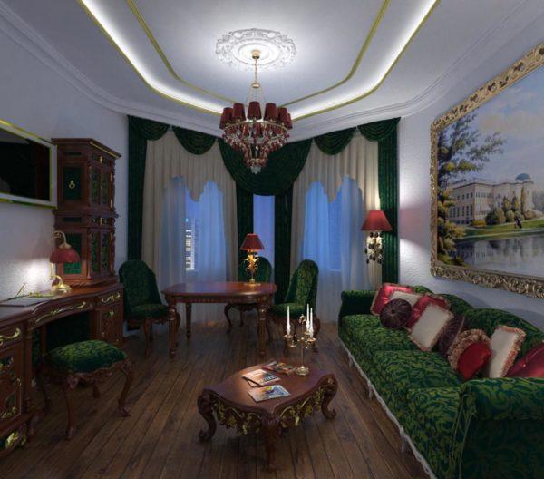 зеленая мебель в гостиной