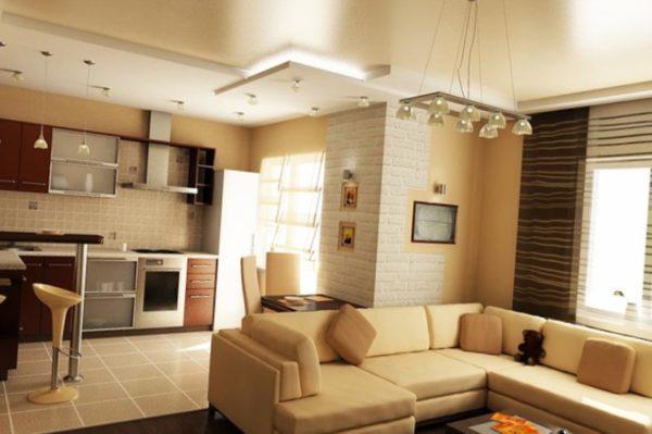 зонирование кухни гостиной цветом
