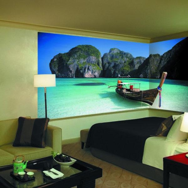 Спальня с видом на солнечный океан