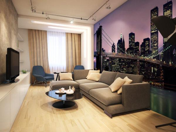 Гостиная в современном стиле с видом на город