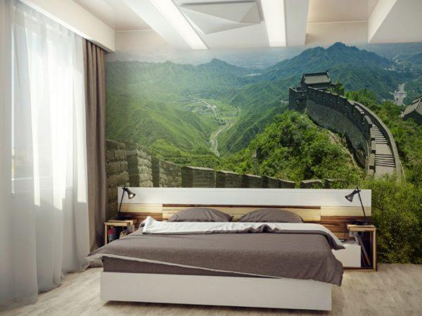 Идеальный дизайн спальни с видом на горы