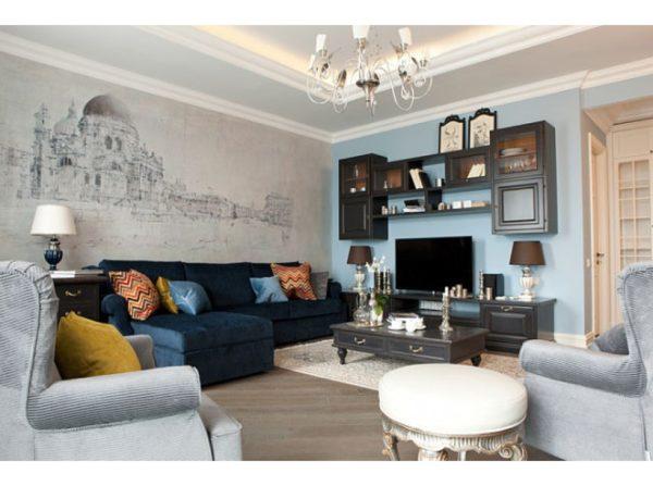 Идеальный вариант гостиной с изображением старинного города