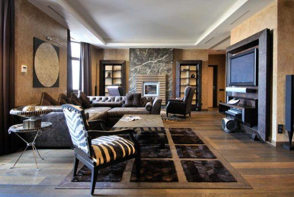дизайн интерьер гостиной в темных тонах