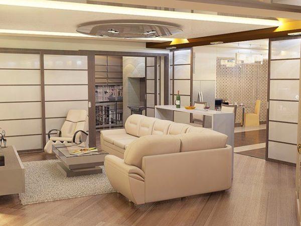 Кремовая гостиная с мягком ковром