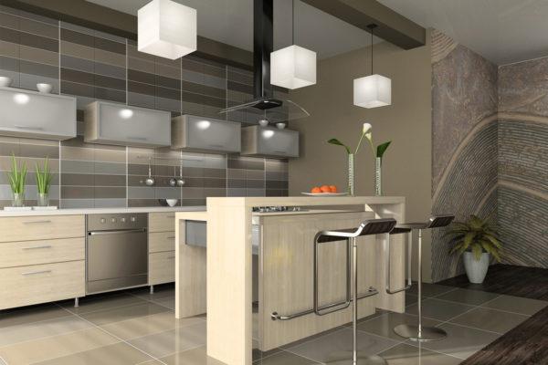 Светло-серая кухня с навесными шкафчиками