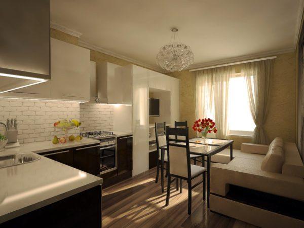 Бежевая мебель с шоколадными пинтами на кухне