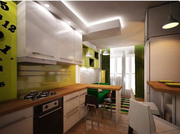 Небольшая кухня совмещенная с гостиной