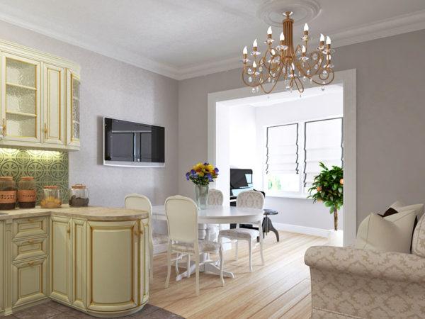 Современная гостиная-кухня с телевизором