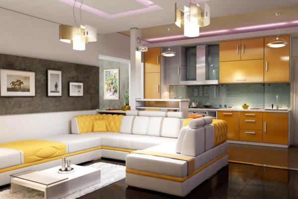 Кухня в желтых и серых цветах