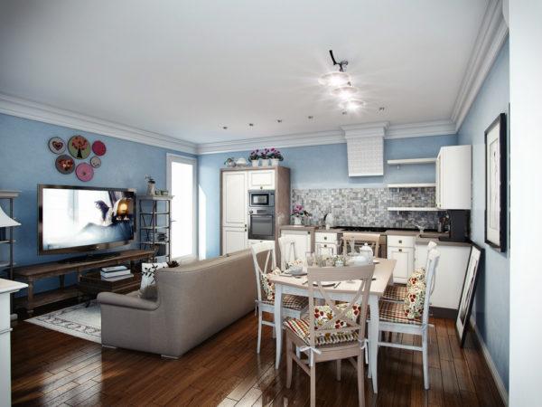 Светло-голубые стены в гостиной-кухне