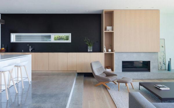Многоуровневая кухня-гостиная в стиле минимализм
