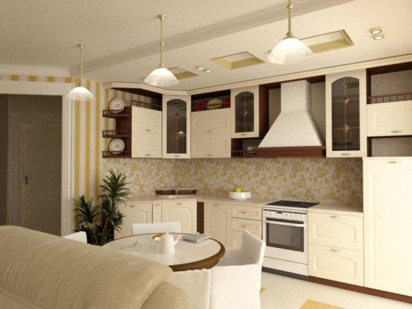 Бежевая кухня с гостиной и обоями в полоску
