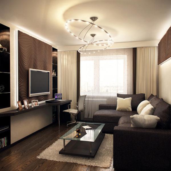 насыщенный цвет маленькой гостиной