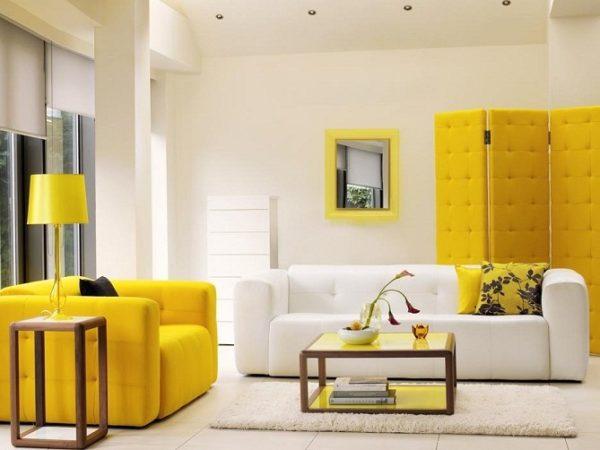 желтый и белый в интерьере