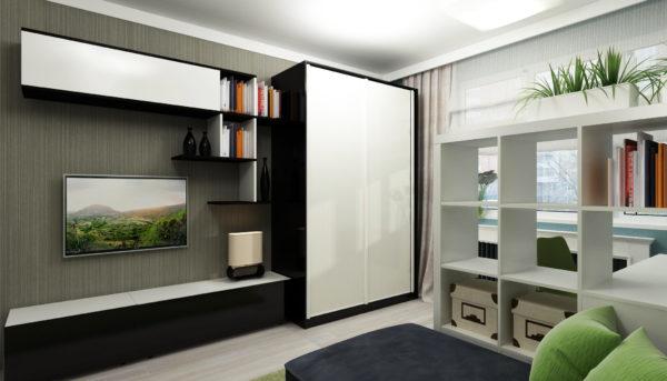 небольшой однотонный шкаф купе в интерьере гостиной