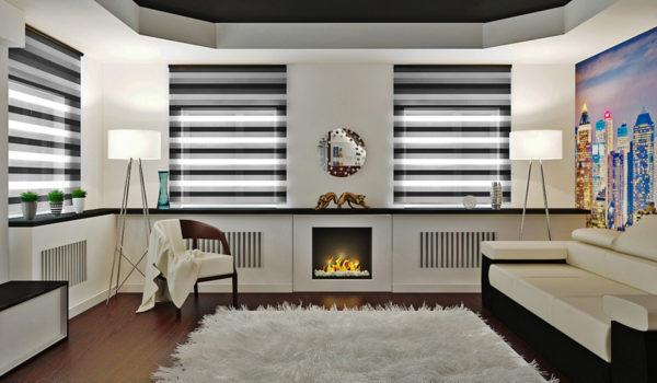 современная гостиная с белым ковром