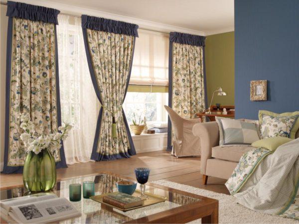 оригинальные шторы в оформлении гостиной