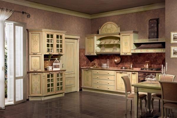 Розовые обои и молочная мебель на кухне