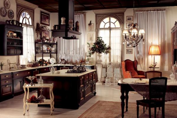 Темная мебель в гостиной-кухне