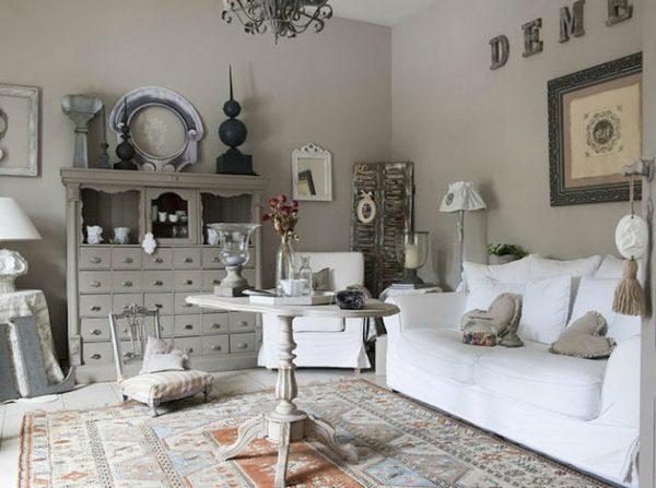 Серо-белая гостиная в стиле Прованс