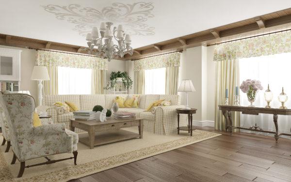 Гостиная с ковром и светлой мебелью