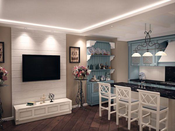 Гостиная-кухня в бирюзовых и белых тонах с телевизором