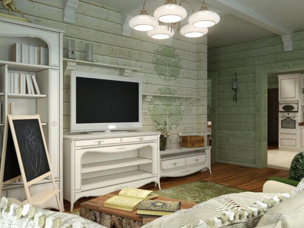 Деревянные стены в гостиной комнате