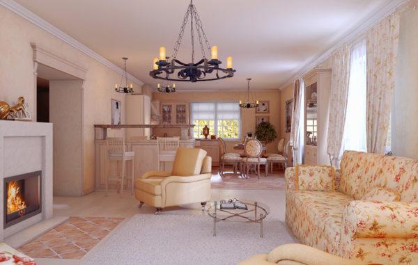 Бежевая гостиная с камином и цветастой мебелью