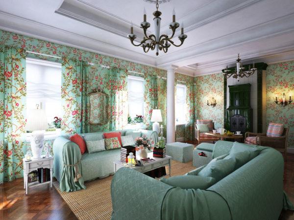 Гостиная в стиле прованс в зеленых оттенках
