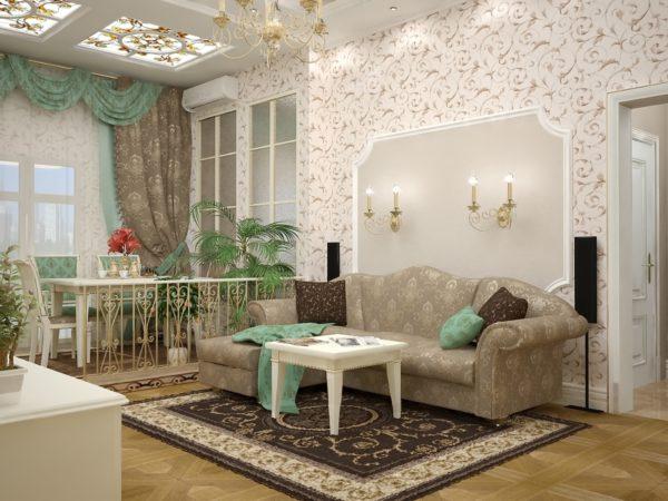 гостиная с пастельными обоями