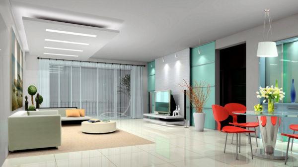 освещение в гостиной в стиле хай тек