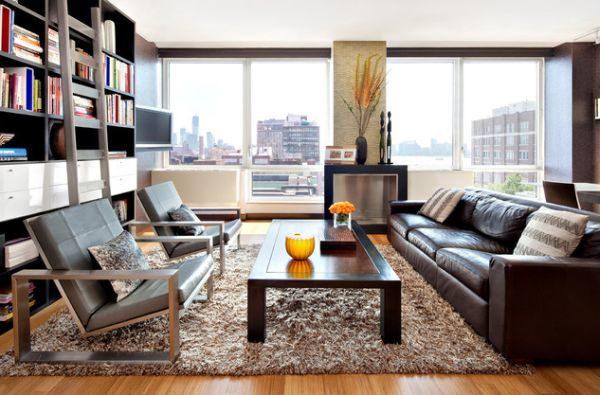 коричневый диван насыщенного темного оттенка