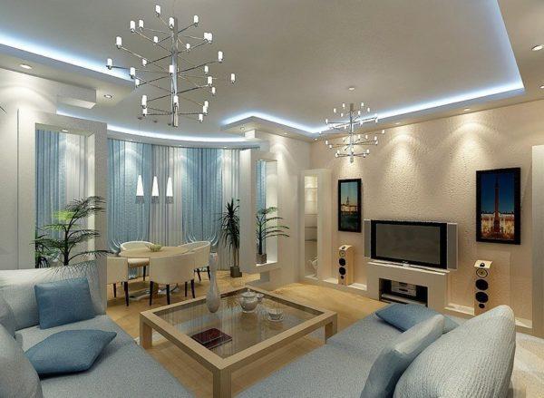 общее освещение гостиной комнаты