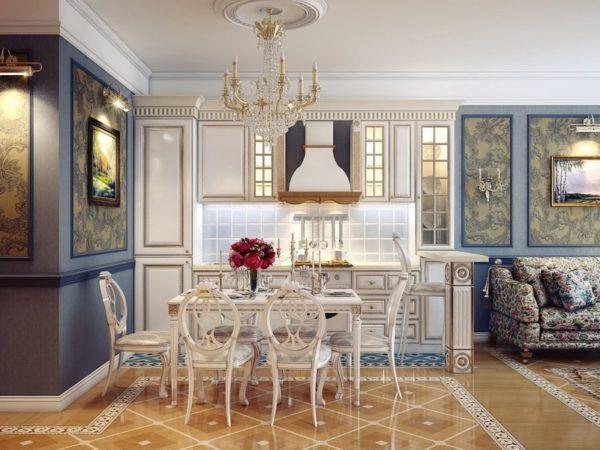 оригинальная мебель в кухне гостинной классического стиля