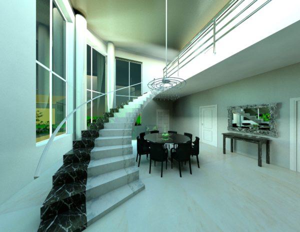 одномаршевая модель лестницы в интерьере