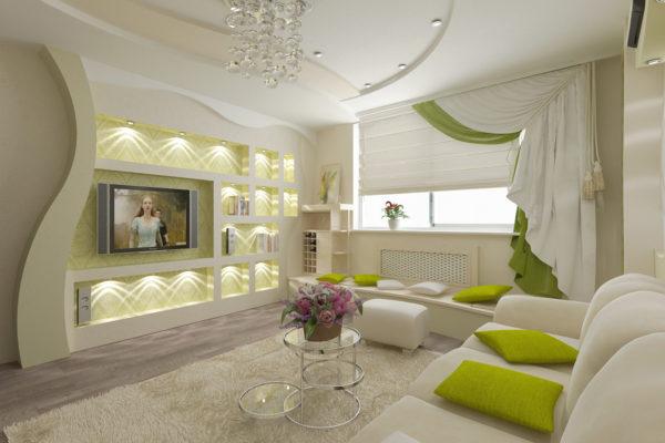 дизайн интерьера в гостиной комнате