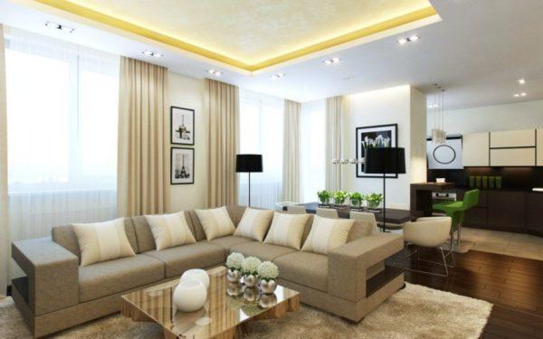 современная гостиная в пастельной гамме