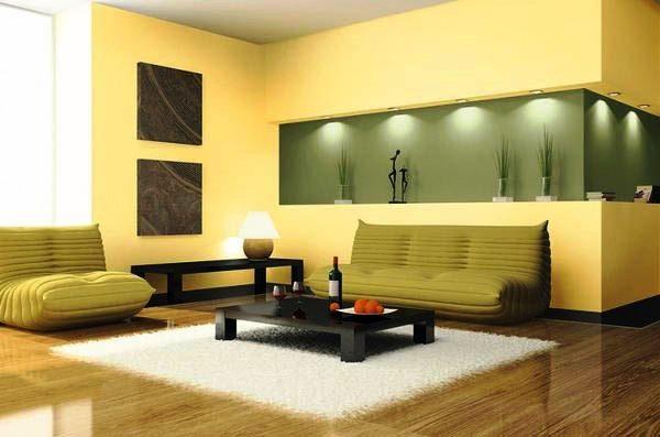 желтый цвет стен в интерьере гостиной