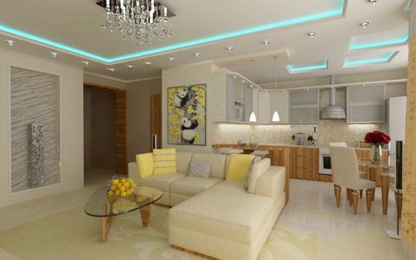 дизайн светлой гостиной с кухней