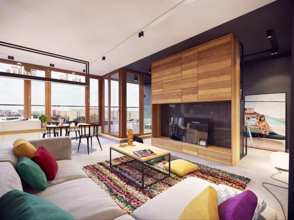 гостиная с деревянными элементами