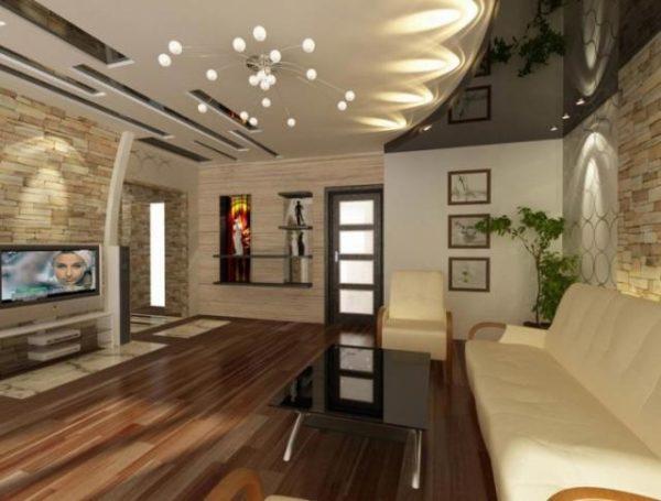 оригинальный потолок для гостиной