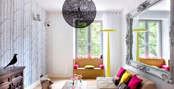 зеркало в дизайне гостиной